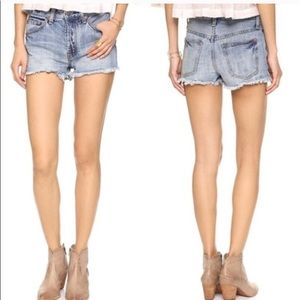 Free People button fly jean shorts frayed distress